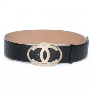 Chanel Classic CC Logo Silver Hardware Black Leather Belt Lust4Labels 1 6