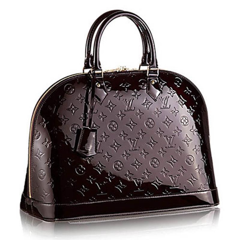 9644ef1acbf9 Louis Vuitton Monogram Vernis Amarante Alma GM Large Tote Purse Lust4Labels  12