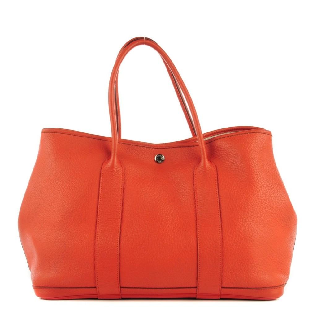 c183d4ec7d3f  4000 Hermes Classic Garden Party 36 Orange Calf Leather Tote Bag Purse -  Lust4Labels