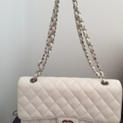 Chanel Classic White Caviar Quilted Leather Medium Flap Shoulder Bag Purse SHW Lust4Labels 1