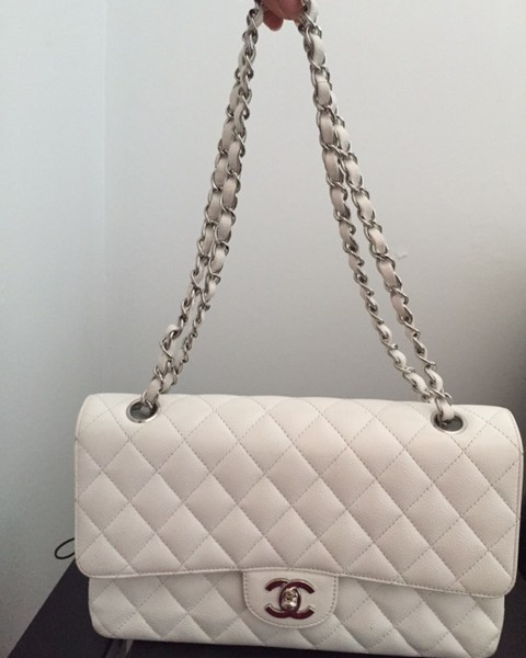 97019428f6c8 $5000 Chanel Classic White Caviar Quilted Leather Medium Flap ...