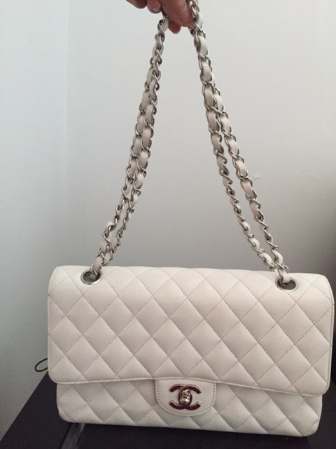 2e28c67715bd Chanel Classic White Caviar Quilted Leather Medium Flap Shoulder Bag Purse  SHW Lust4Labels 20 lightbox · lightbox · lightbox