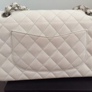Chanel Classic White Caviar Quilted Leather Medium Flap Shoulder Bag Purse SHW Lust4Labels 10