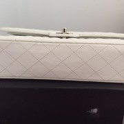 Chanel Classic White Caviar Quilted Leather Medium Flap Shoulder Bag Purse SHW Lust4Labels 12