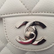 Chanel Classic White Caviar Quilted Leather Medium Flap Shoulder Bag Purse SHW Lust4Labels 13