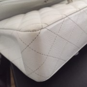 Chanel Classic White Caviar Quilted Leather Medium Flap Shoulder Bag Purse SHW Lust4Labels 14
