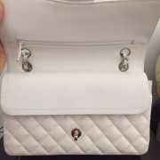 Chanel Classic White Caviar Quilted Leather Medium Flap Shoulder Bag Purse SHW Lust4Labels 2