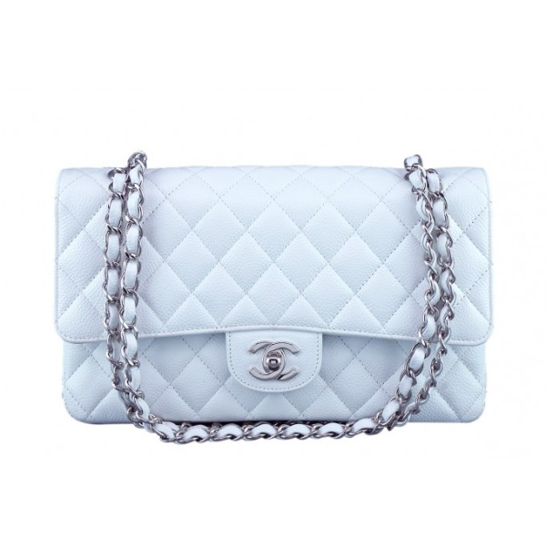 Chanel Classic White Caviar Quilted Leather Medium Flap Shoulder Bag Purse SHW Lust4Labels 20