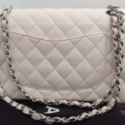 Chanel Classic White Caviar Quilted Leather Medium Flap Shoulder Bag Purse SHW Lust4Labels 3