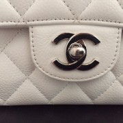 Chanel Classic White Caviar Quilted Leather Medium Flap Shoulder Bag Purse SHW Lust4Labels 5