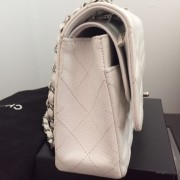 Chanel Classic White Caviar Quilted Leather Medium Flap Shoulder Bag Purse SHW Lust4Labels 7
