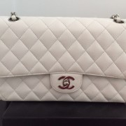 Chanel Classic White Caviar Quilted Leather Medium Flap Shoulder Bag Purse SHW Lust4Labels 9