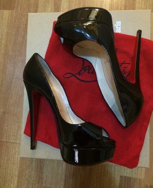 35360d8fe222  1000 Christian Louboutin Black Patent Leather Lady Peep Pumps 150mm ...