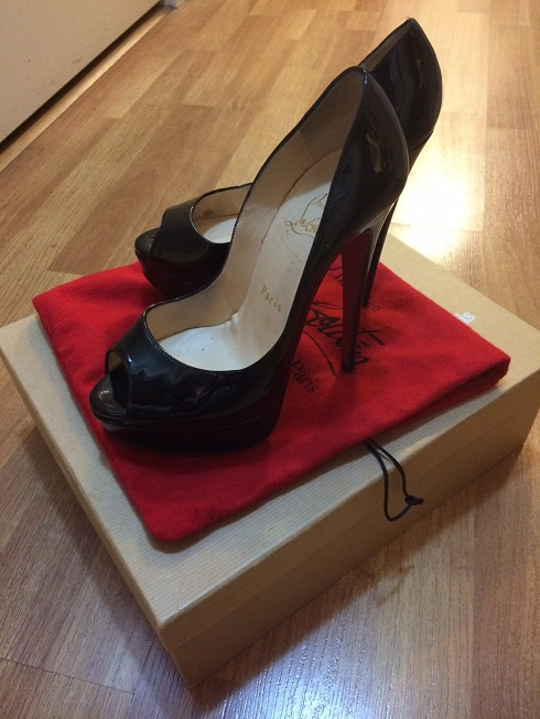 56e206597e6  1000 Christian Louboutin Black Patent Leather Lady Peep Pumps 150mm ...