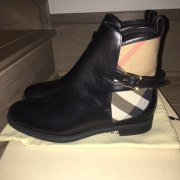 Burberry Brit Bridle House Check Black Leather Ankle Boots Lust4Labels 4
