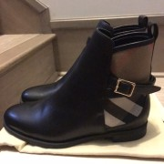Burberry Brit Bridle House Check Black Leather Ankle Boots Lust4Labels 5
