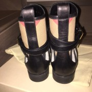 Burberry Brit Bridle House Check Black Leather Ankle Boots Lust4Labels 6