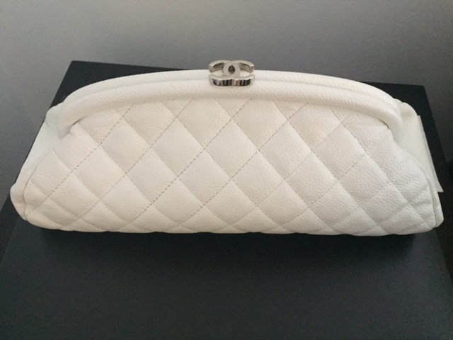 c00c980744cb $2800 Chanel Classic White Caviar Quilted Leather Timeless Kisslock ...