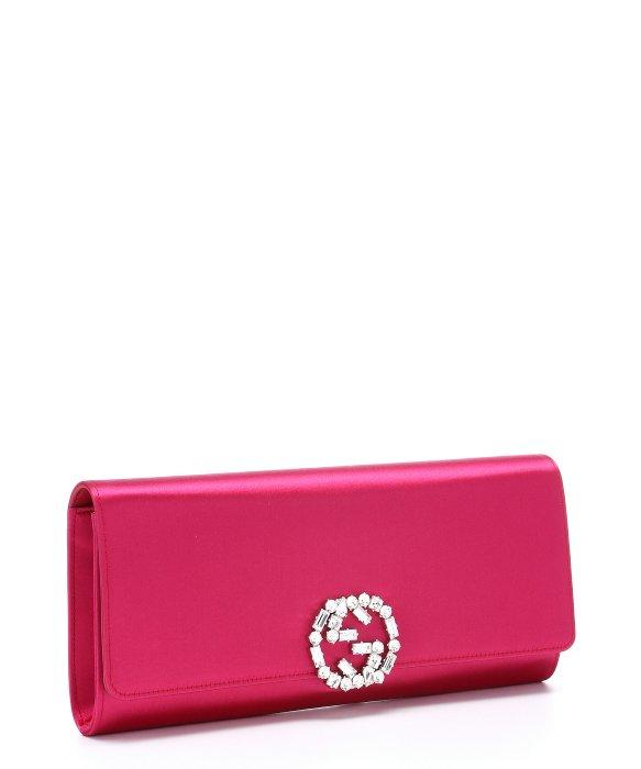 80a238c4f3 $1000 Gucci GG Logo Hot Pink Fuschia Satin Swarovski Broadway Clutch ...