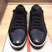 Prada Navy Blue Nylon Black Patent Leather Sneakers Lust4Labels 2