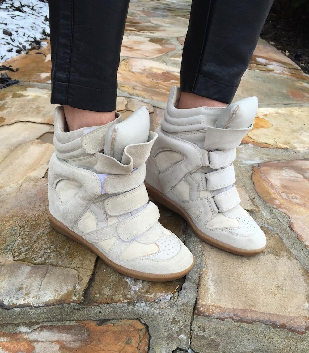 fbc757bacc14  700 Isabel Marant Cream White Leather Suede Bekett Sneaker Wedge ...