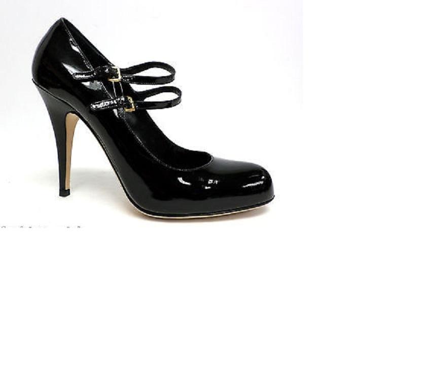 10483aef6900d $800 Miu Miu Black Patent Leather Mary Jane Strap Pumps SZ 37 7 ...