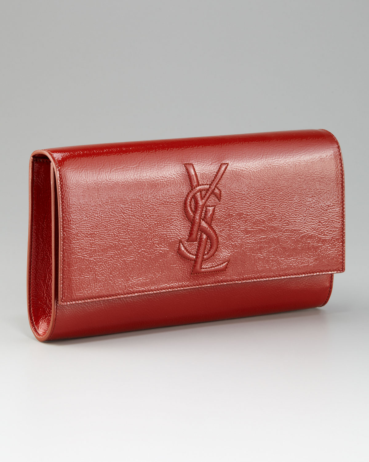 d8642a511bf $900 Yves Saint Laurent YSL Belle Du Jour Red Patent Leather Clutch ...
