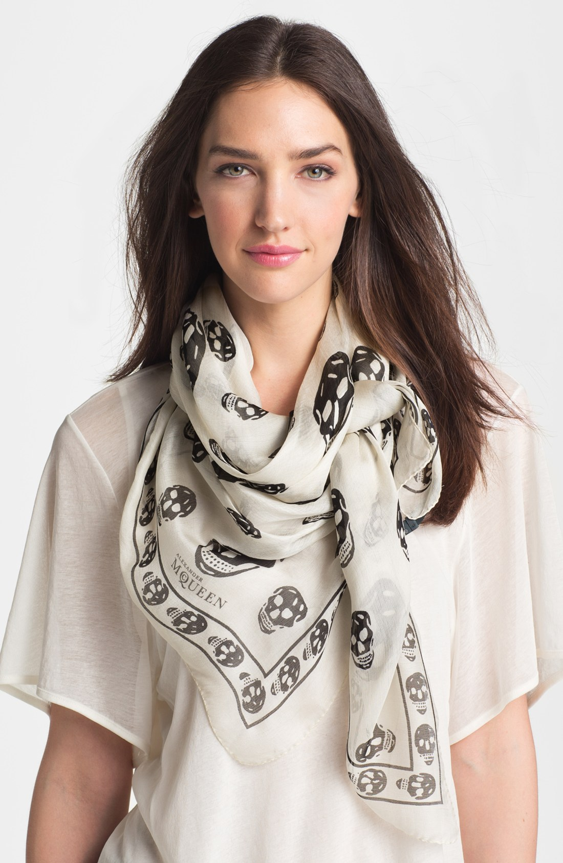 d585f22441b03  350 Alexander Mcqueen Classic White Black Silk Skull Print Chiffon Scarf.  Return to Previous Page. Out. of stock. a-mcqueen lightbox · lightbox