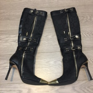 versace-black-canvas-leather-trim-gold-detail-pointed-boots-sz-36-5-lust4labels-1
