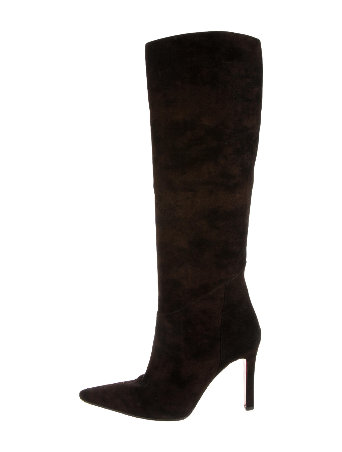 8ff6b8eb775  1400 Christian Louboutin Black Suede Knee High Pointed Toe 120mm Boots SZ  37. Return to Previous Page. Out. of stock. 2048783