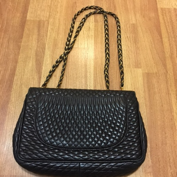 1300 Bally Vintage Black Quilted Leather Double Flap