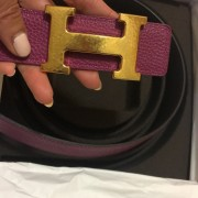 Hermes Classic H Logo Gold Hammered Buckle Reversible Pink Brown Leather Belt SZ 80 Lust4Labels 1