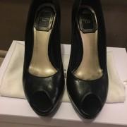 Christian Dior Black Leather Peep Classic Pumps SZ 34.5 35 Lust4Labels 1