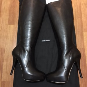 Dolce Gabbana Black Leather Classic Platform Knee High Boots SZ 37 Lust4Labels 1