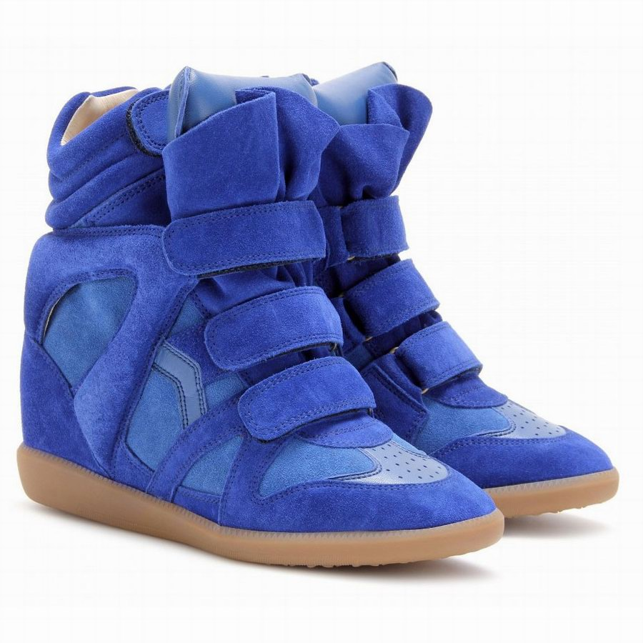 700 isabel marant blue suede leather bekett sneaker wedge. Black Bedroom Furniture Sets. Home Design Ideas