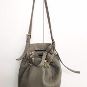 Alexander Wang Grey Pebbled Leather Studded Diego Bucket Bag Purse Lust4Labels 1