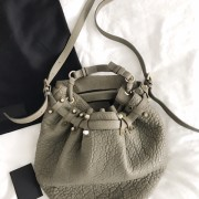 Alexander Wang Grey Pebbled Leather Studded Diego Bucket Bag Purse Lust4Labels 11
