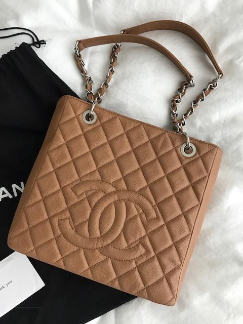 6407b290c0e59d $2500 Chanel Classic Dark Beige Tan Caviar Leather Petite Shopping ...