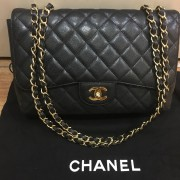 Chanel Classic Black Caviar Quilted Leather Jumbo Flap bag Purse GHW Lust4Labels 1