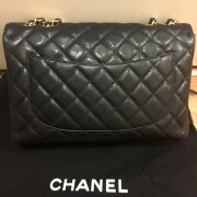 Chanel Classic Black Caviar Quilted Leather Jumbo Flap bag Purse GHW Lust4Labels 3