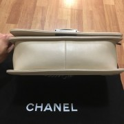 Chanel Classic Light Nude Beige Quilted Lamb Leather Medium Boy Bag Purse RHW Lust4Labels 1016