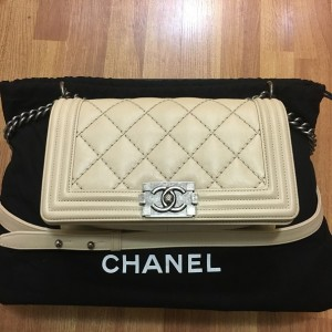 Chanel Classic Light Nude Beige Quilted Lamb Leather Medium Boy Bag Purse RHW Lust4Labels 11