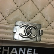 Chanel Classic Light Nude Beige Quilted Lamb Leather Medium Boy Bag Purse RHW Lust4Labels 12