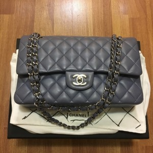 Chanel Classic Purple Quilted Lambskin Medium Flap Bag Purse SHW Lust4Labels 1