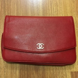Chanel Classic Red Caviar Leather Sevruga WOC Wallet on Chain SHW Lust4Labels 1