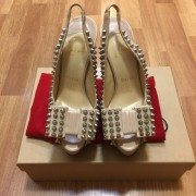 Christian Louboutin Classic Beige Nude Calf Leather Clou Noeud Spikes Heels SZ 35 Lust4Labels 1
