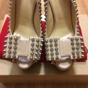Christian Louboutin Classic Beige Nude Calf Leather Clou Noeud Spikes Heels SZ 35 Lust4Labels 5