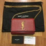 Yves Saint Laurent Paris YSL Red Leather WOC Wallet on Chain GHW Lust4Labels 1
