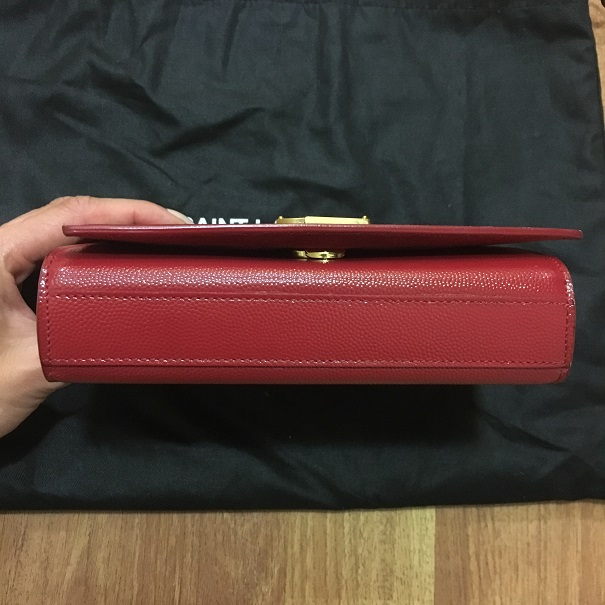 2500 Yves Saint Laurent Ysl Red Leather Gold Chain Wallet