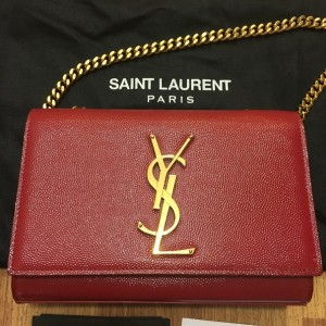 Yves Saint Laurent Paris YSL Red Leather WOC Wallet on Chain GHW Lust4Labels 2